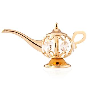Matashi Goldplated Genuine Crystals Highly Polished Aladdin Lamp Ornament