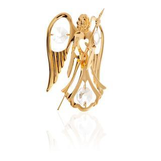 24k Gold Plated Guardian Angel w/ Spade Ornament Made w/Genuine Matashi Crystals