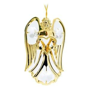 Matashi 24k Goldplated Genuine Crystals Highly Polished Guardian Angel and Heart Ornament