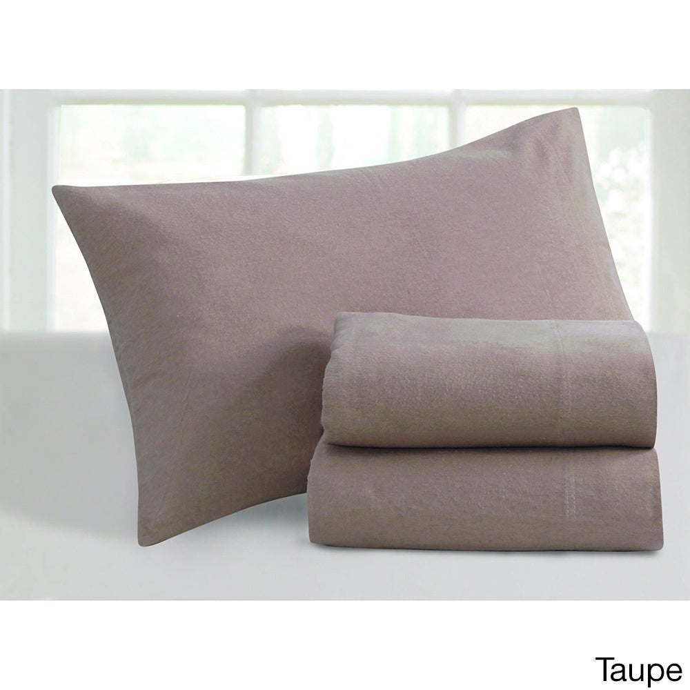 Ultra-soft 5-ounce Solid Flannel Pillowcases (Set of 2) (...
