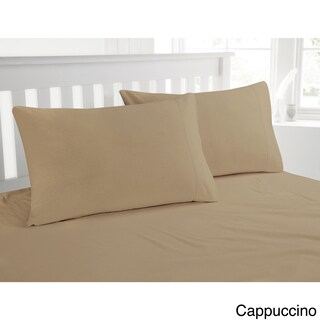 Luxury 200-GSM Cotton Flannel Hemstitched Pillowcases (Set of 2) (Option: Standard - Cappuccino)