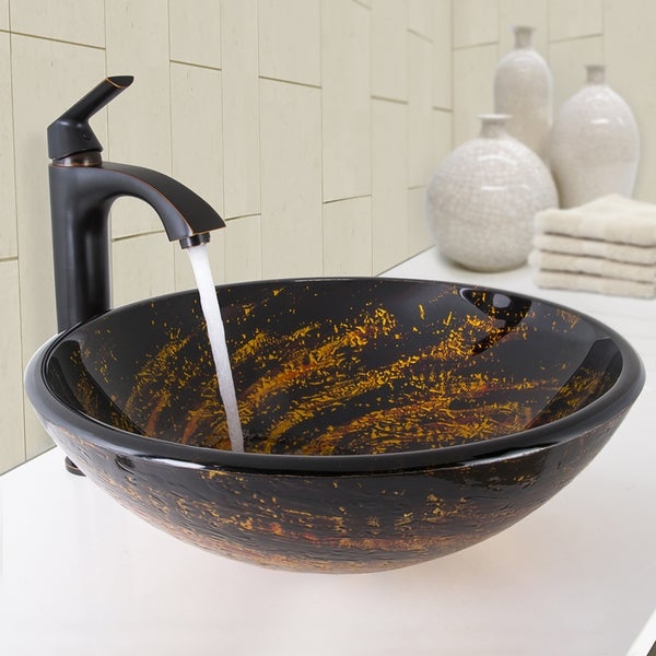 VIGO Northern Lights Glass Vessel Bathroom Sink and Linus Bathroom Vessel Faucet in Antique Rubbed Bronze - chocolate