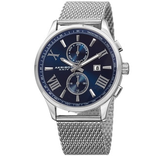Akribos XXIV Men's Swiss Quartz Multifunction Stainless Steel Mesh Silver-Tone Bracelet Watch