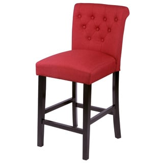 Sopri Upholstered Counter Chairs (Set of 2) in Deep Red (As Is Item)