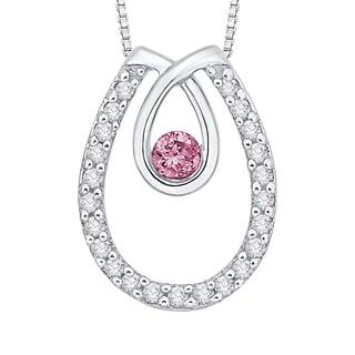10k White Gold 1/5ct TDW Pink and White Diamond Fashion Pendant (G-H,I2-I3)