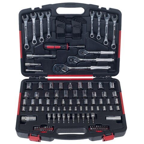 Mechanics Tool Kit by Stalwart - 135 Piece H& Tool Set Includes  Screwdriver, Wrench, & Ratchet Set