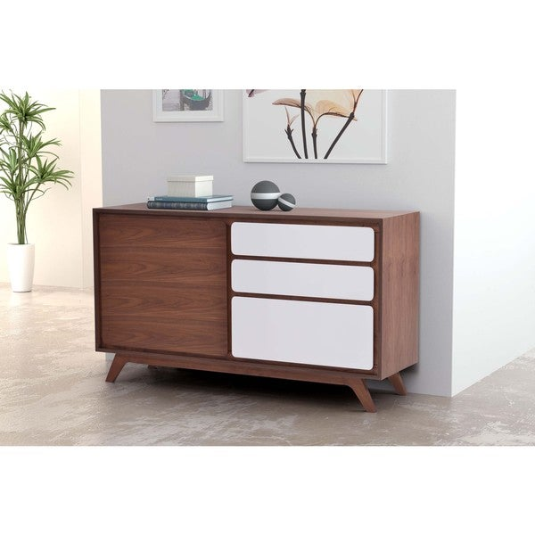 Stratford Console Table Father Walnut and White Vinish Mid-century Buffet - Free Shipping ...