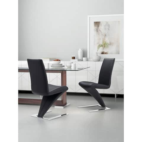 Herron White or Black Leatherette Dining Chair (Set of 2)