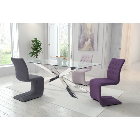 Hyper Polyester Dining Chair in Grey, Purple, or Beige (Set of 2)