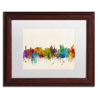 Michael Tompsett 'Victoria Canada Skyline' White Matte, Wood Framed Canvas Wall Art