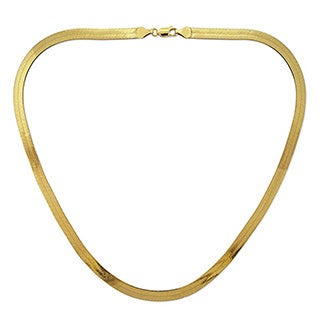 Decadence 14k Yellow Gold Herringbone Chain Necklace