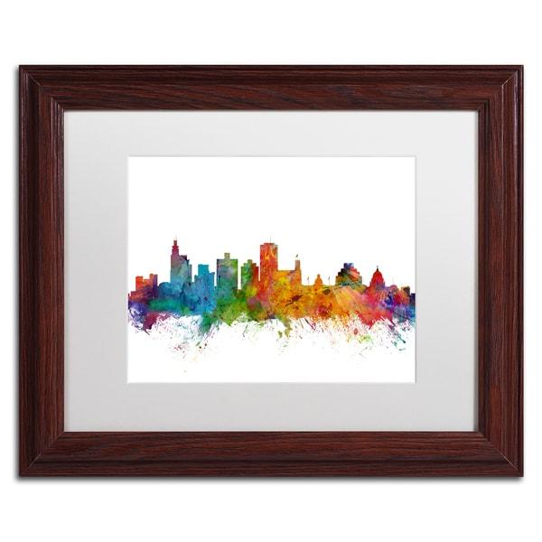 Michael Tompsett 'Jackson Mississippi Skyline' White Matte, Wood Framed Canvas Wall Art
