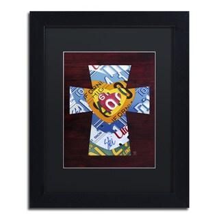 Design Turnpike 'Heart Cross' Black Matte, Black Framed Canvas Wall Art