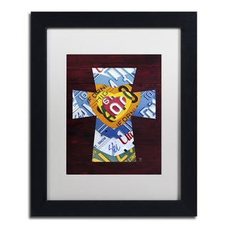 Design Turnpike 'Heart Cross' White Matte, Black Framed Canvas Wall Art