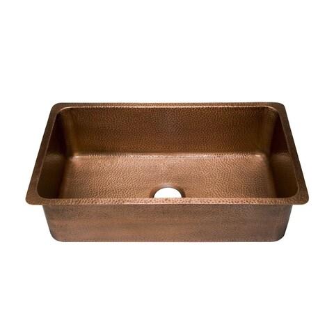 "Sinkology David Undermount Handmade Copper Sink 31.25"" Luxury Single Bowl Kitchen Sink in Antique Copper"
