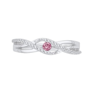 10k White Gold 1/5ct TDW Pink and White Diamond Ring
