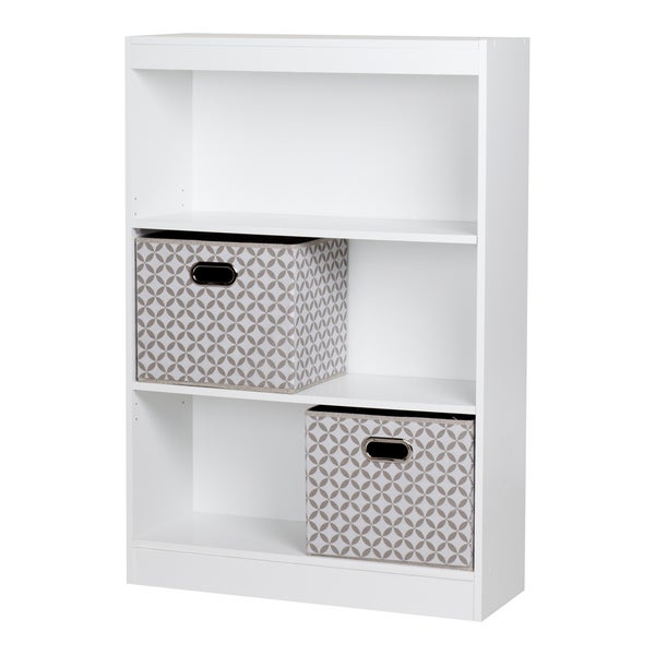 South Shore Axess 4-Shelf Bookcase With 2 Fabric Storage