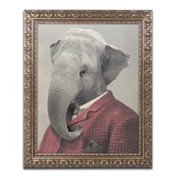 J Hovenstine Studios 'Wild Animals #1' Gold Ornate Framed Canvas Wall Art
