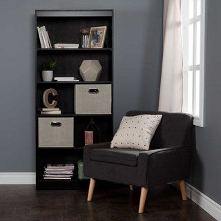 South Shore Axess 3-Shelf Bookcase with 2 Fabric Storage Baskets