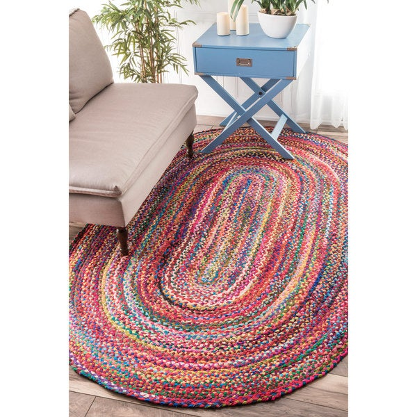 Nuloom Casual Handmade Braided Cotton Multi Rug 5 X 8