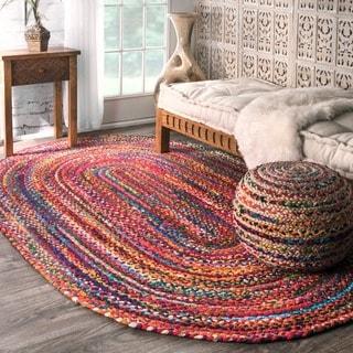 nuLOOM Casual Handmade Braided Cotton Multi Rug (7' x 9' Oval)