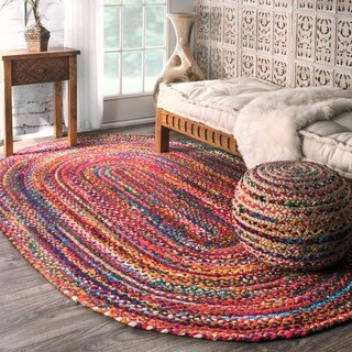The Curated Nomad Grove Handmade Braided Multicolor Rug (7' x 9' Oval)