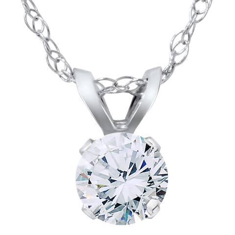 14K White Gold 1/3ct TDW Diamond Round Brilliant Cut Solitaire Pendant