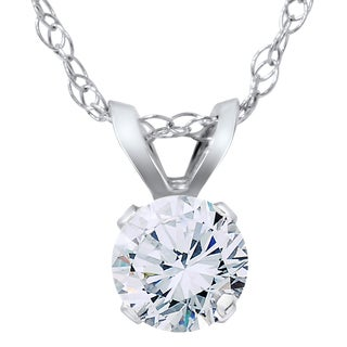 14K White Gold 1/3ct TDW Diamond Round Brilliant Cut Solitaire Pendant