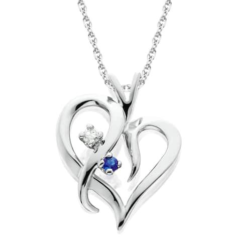 14K White Gold 1/ 20ct Ruby or Blue Sapphire & Diamond Heart Pendant Necklace (I-J/ I2-I3)