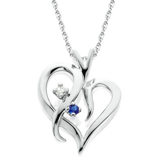 14K White Gold 1/ 20ct Ruby or Blue Sapphire & Diamond Heart Pendant Necklace (I-J/ I2-I3)