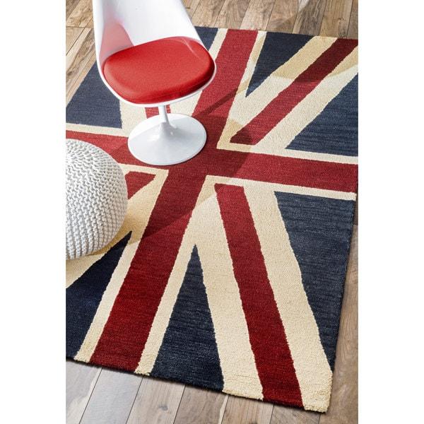 nuloom handmade union jack british flag wool rug (3' x 5') - free