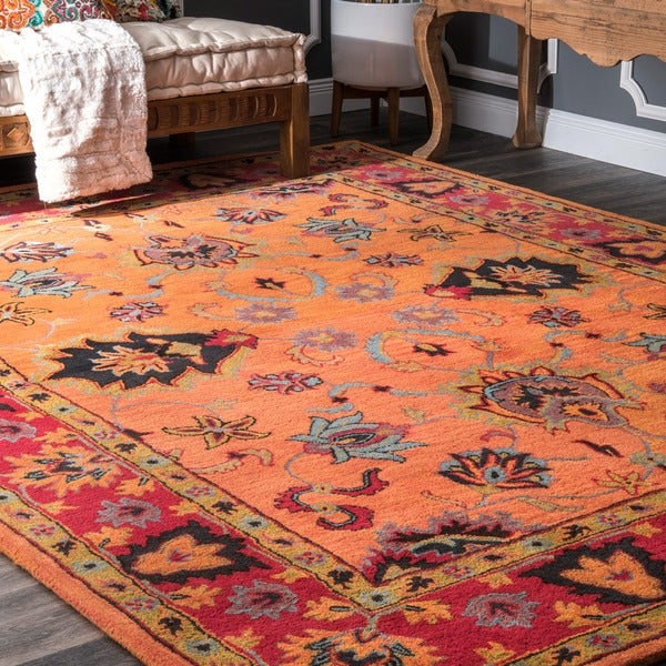 Gracewood Hollow Odyssey Handmade Overdyed Traditional Orange Wool Rug (9'6 x 13'6)