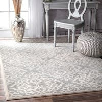 Silver Orchid Simmons Modern Medallion Trellis Silver Rug  - 9' x 12'