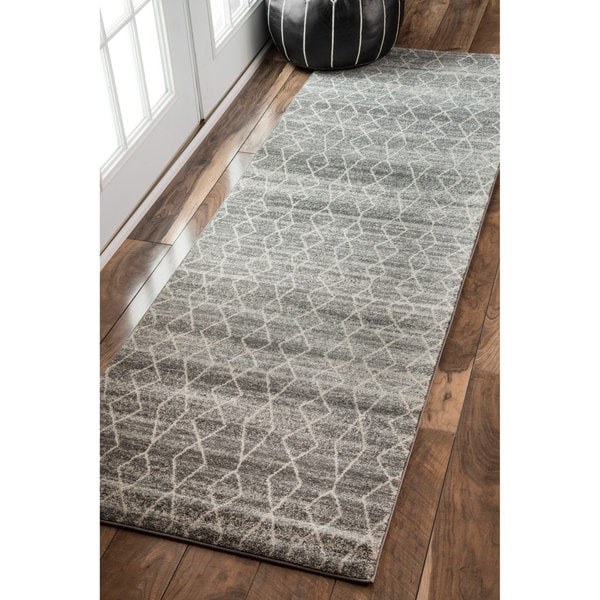 Nuloom Geometric Moroccan Trellis Fancy Grey Runner Rug 2