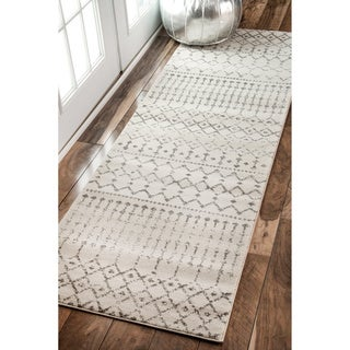 The Curated Nomad Ashbury Beaded Moroccan Trellis Ivory Runner Rug (2'8 x 8')