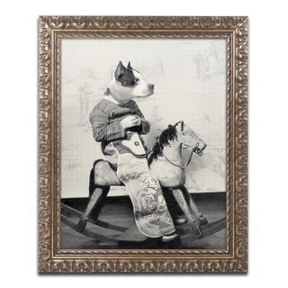J Hovenstine Studios 'Dog Series #4' Gold Ornate Framed Canvas Wall Art