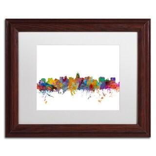 Michael Tompsett 'Madison Wisconsin Skyline' White Matte, Wood Framed Canvas Wall Art