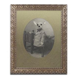 J Hovenstine Studios 'Dog Series #3' Gold Ornate Framed Canvas Wall Art