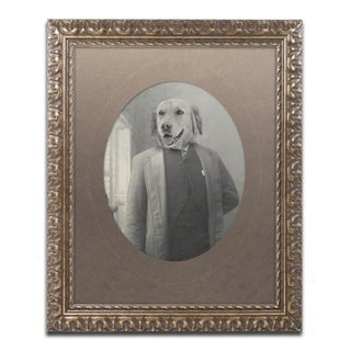 J Hovenstine Studios 'Dog Series #2' Gold Ornate Framed Canvas Wall Art