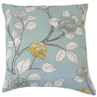 Pallavi Floral Light Blue 18-inch Feather and Down Filled Throw Pillow