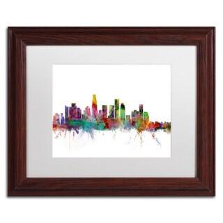 Michael Tompsett 'Los Angeles California Skyline' White Matte, Wood Framed Canvas Wall Art