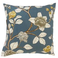 Pallavi Floral Blue 18-inch Feather and Down Filled Throw Pillow