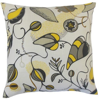 Qiana Floral 18-inch Feather and Down Filled Throw Pillow