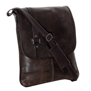 Piel Leather Vintage Laptop Vertical Slim Messenger Bag