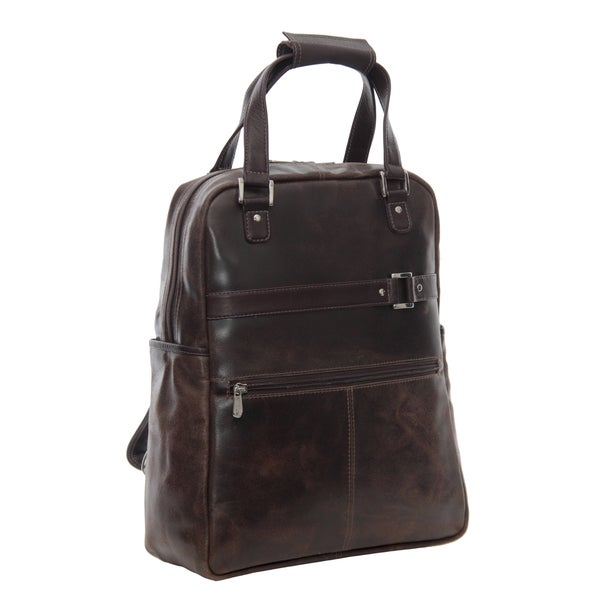 Piel Leather Vintage Laptop Convertible Travel Tote Backpack