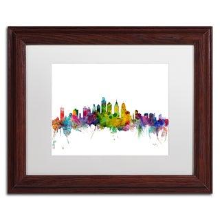 Michael Tompsett 'Philadelphia Pennsylvania Skyline' White Matte, Wood Framed Canvas Wall Art