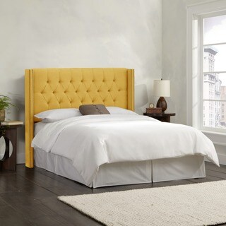 Skyline Furniture Linen French Yellow Diamond Tufted Wingback Headboard