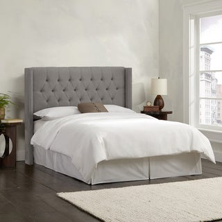 Skyline Furniture Linen Grey Diamond Tufted Wingback Headboard