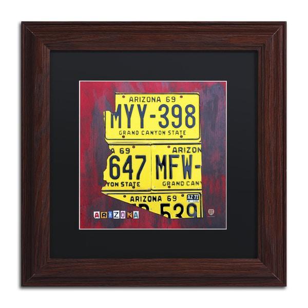 Design Turnpike \'Arizona License Plate\' Black Matte, Wood Framed ...
