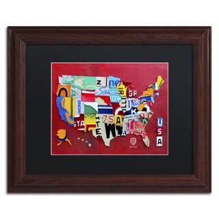Design Turnpike 'License Plate Map Miniature' Black Matte, Wood Framed Canvas Wall Art